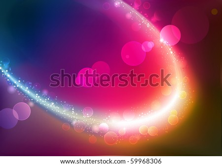 Vector illustration of red abstract background with blurred magic neon light curved line - stock vector