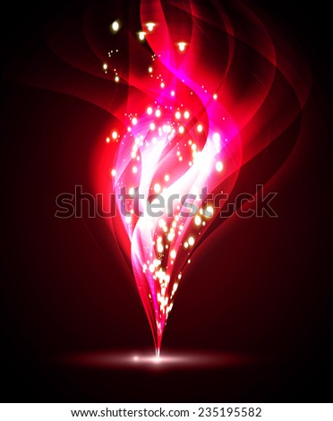 Vector illustration of red abstract background with blurred magic neon light curved lines. wave. Technology background for computer graphic website internet.  - stock vector