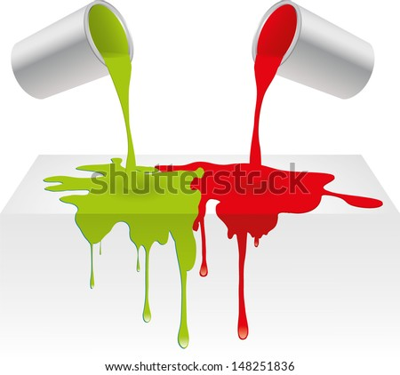 Vector illustration of red and green color paint pouring from a can and dripping into background surface. Isolated on white