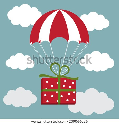 Vector illustration of red and white parachute with the present in the sky. Delivery Concept - stock vector