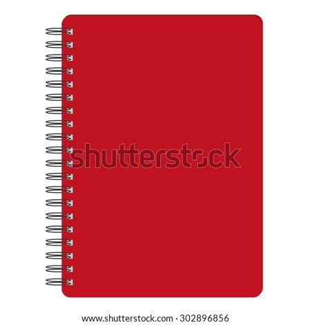 Vector illustration of red blank empty spiral notepad, notebook. Closed notebook. Red notebook cover - stock vector