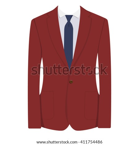 Vector illustration of red, bordo man suit with blue tie and white shirt isolated on white background. Business suit, business, mens suit, man in suit