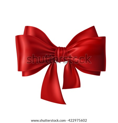 Vector illustration of red bow with ribbons