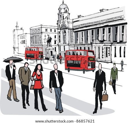 Vector illustration of red bus in London, England - stock vector