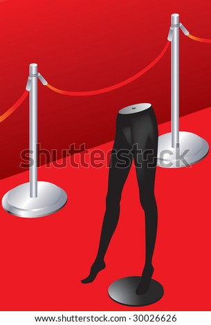 Vector illustration of Red carpet and model - stock vector