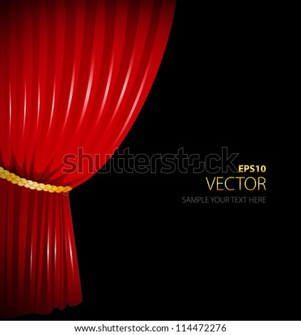 Vector illustration of Red curtain - stock vector