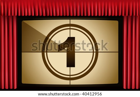vector illustration of red curtain. Film countdown