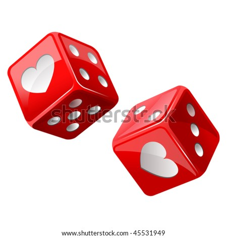 vector illustration of red dice - stock vector