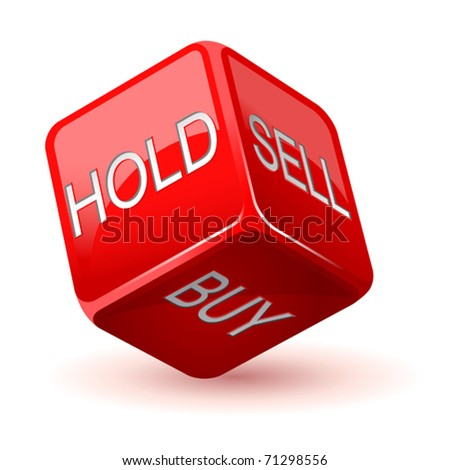vector illustration of red dice. Hold. Sell. Buy - stock vector