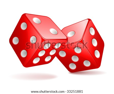 Vector illustration of red dices - stock vector
