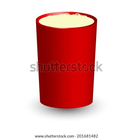 Vector illustration of Red glass with milk - stock vector