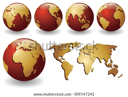 Vector illustration of red globes with golden continents