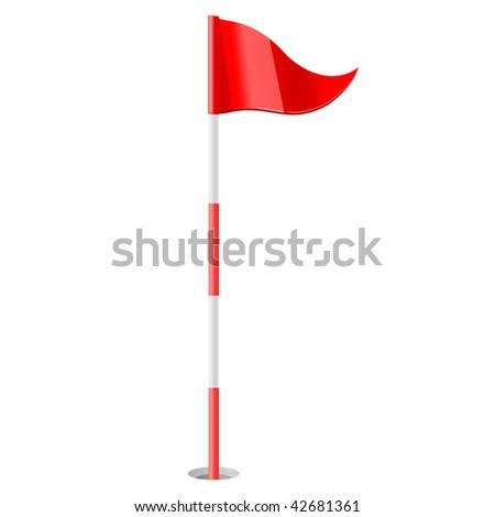 vector illustration of Red golf flag - stock vector
