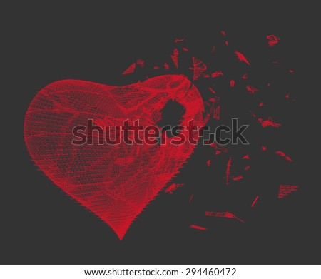 Vector illustration of red heart made from lines and dots, dark grey background, crushed to a pieces, stylized red mesh love symbol, Broken heart, Geometric background, Abstract 3D polygonal pattern. - stock vector