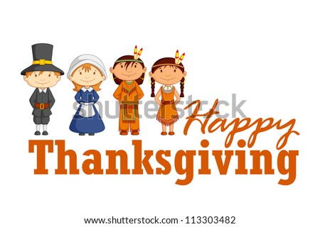 vector illustration of Red Indian wishing Happy Thanksgiving - stock vector