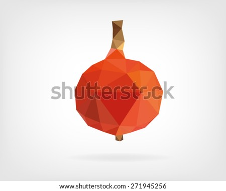 Vector illustration of Red Kuri Squash or Hokkaido Squash in low poly design - stock vector