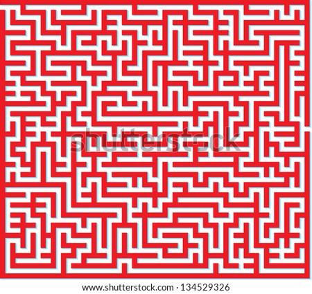 Vector illustration of red maze isolated on white background - stock vector