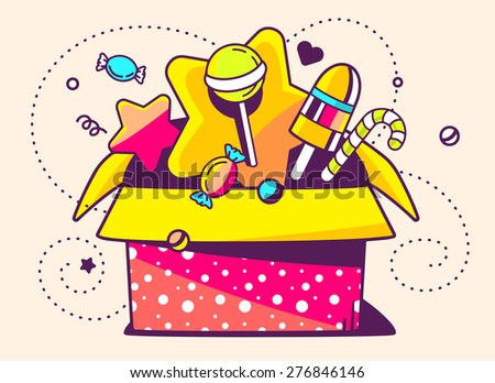 Vector illustration of red open gift box and sweets on light background with star and dot. Hand drawn line art design for web, site, advertising, banner, poster, board and print.   - stock vector