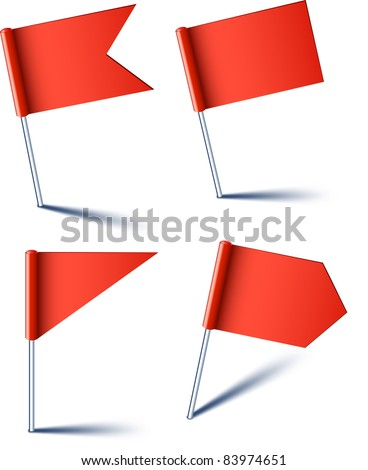 Vector illustration of red pin flags. - stock vector