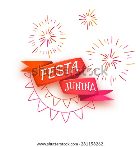 Vector illustration of red ribbon with title for Brazil june party. - stock vector