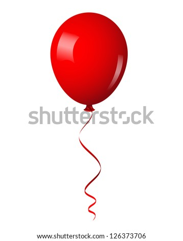 Vector illustration of red shiny balloon with ribbon - stock vector
