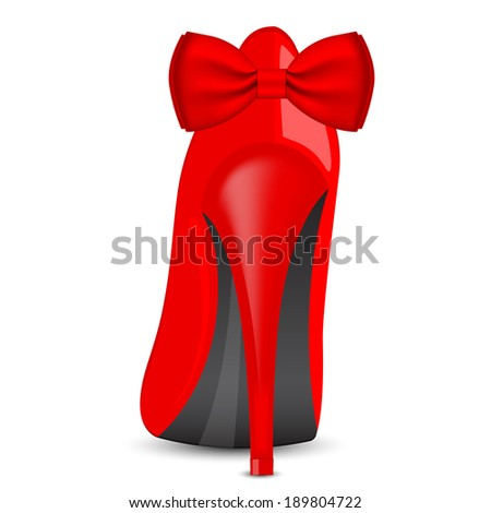 Vector illustration of red shoe with bow - stock vector
