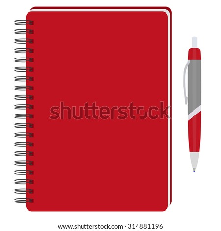 Vector illustration of red spiral notepad, diary, notebook or personal organizer with ball pen. Closed notebook. Red notebook cover - stock vector