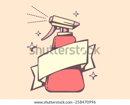 Vector illustration of red spray pistol with ribbon on pink background. Retro color line art design for web, site, advertising, banner, poster, board, poster and print. - stock vector