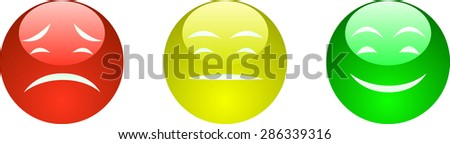 Vector illustration of red, yellow and green faces with sad, neutral and happy expression. - stock vector