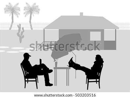 Vector illustration of relax people in the garden