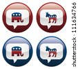 Vector illustration of Republican and Democrat elections buttons.  EPS10 file, with transparency and gradients. - stock photo