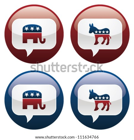 Vector illustration of Republican and Democrat elections buttons.  EPS10 file, with transparency and gradients. - stock vector