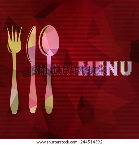 Vector illustration of restaurant card menu design. Spoon, fork and knife on abstract triangular background.  - stock vector