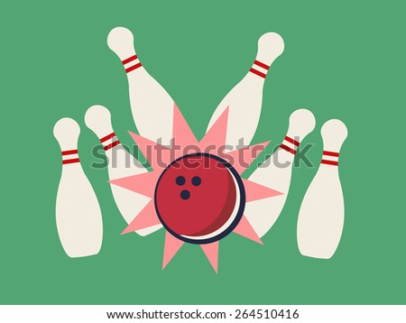 Vector illustration of retro bowling strike.