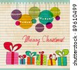 Vector illustration of retro, cute, hand drawn style Christmas gift boxes and ornaments - stock photo
