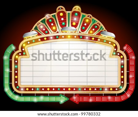 Vector illustration of Retro Googie style sign with two arrows. - stock vector