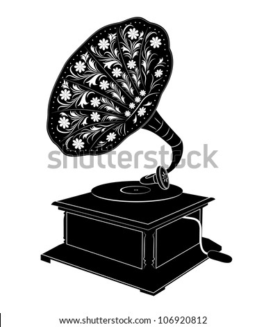 Vector illustration of retro gramophone isolated on white background - stock vector