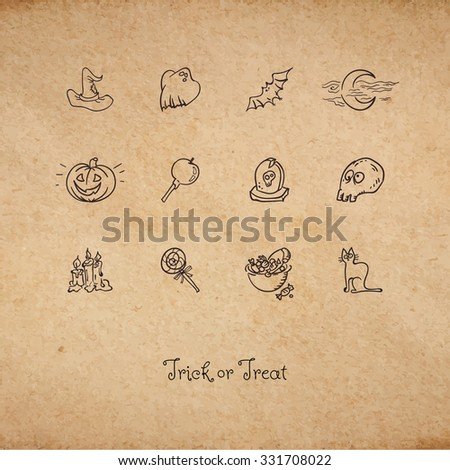 Vector illustration of retro Halloween card with cute symbols of creepy holiday as set of icons for decoration on aged paper parchment background - stock vector