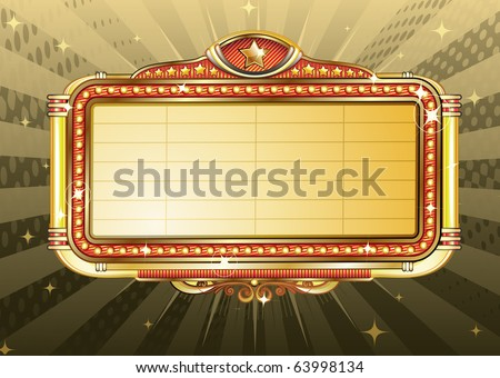 Vector illustration of retro illuminated Movie marquee Blank sign - stock vector