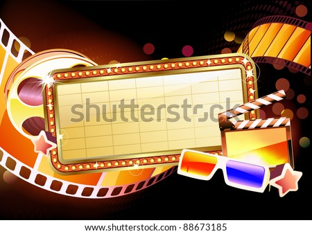 Vector illustration of retro illuminated movie marquee blank sign - stock vector