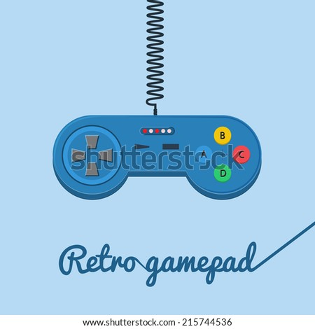 Vector illustration of retro joystick in flat style with cable. Blue joystick with six colored buttons, stick and cable. - stock vector