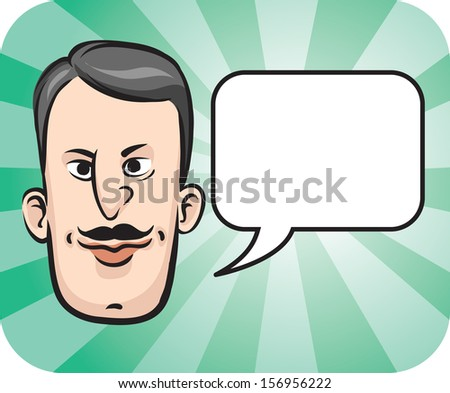 Vector illustration of Retro man face with speech bubble. Easy-edit layered vector EPS10 file scalable to any size without quality loss. High resolution raster JPG file is included. - stock vector