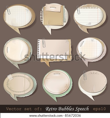 Vector illustration of retro paper bubbles speech - stock vector