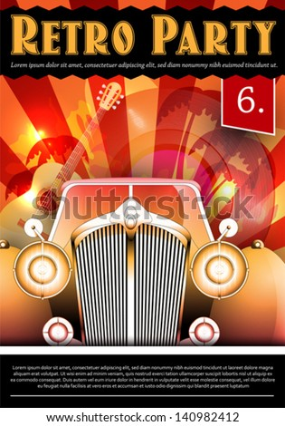 Vector Illustration of Retro Party poster with Vintage Car - stock vector