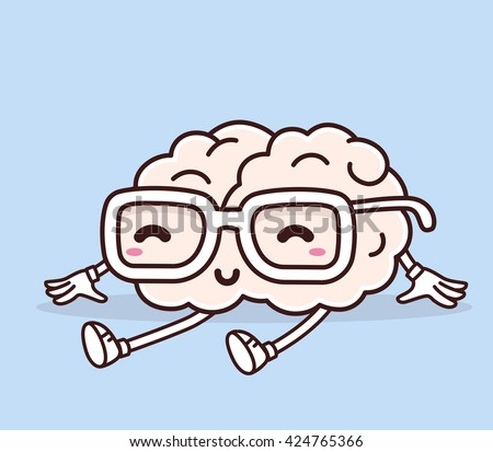 Vector illustration of retro pastel color sitting smile pink brain with glasses on blue background. Creative cartoon brain concept. Doodle style. Thin line art flat design of brain for brainstorm - stock vector