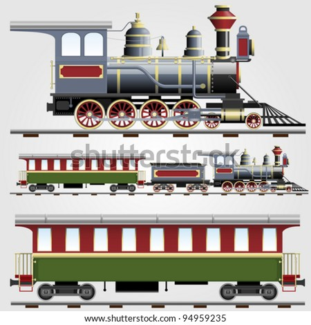Vector illustration of Retro steam train with coach - stock vector