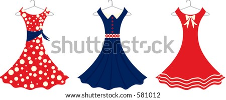 Vector illustration of retro style sundresses.