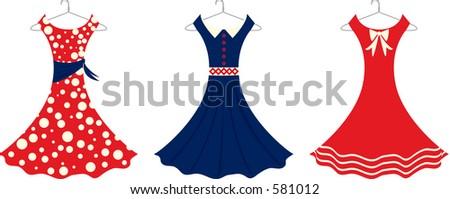 Vector illustration of retro style sundresses. - stock vector