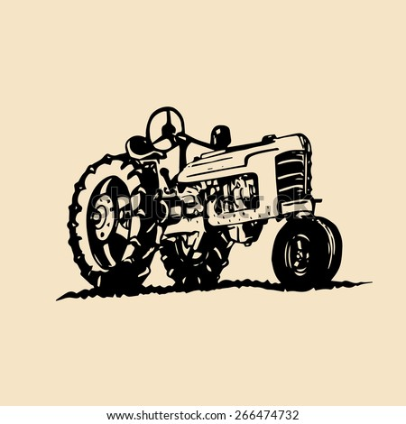 Vector illustration of retro tractor in hand sketched style. Farm fresh logotype. Organic bio products emblem. Eco food sign.