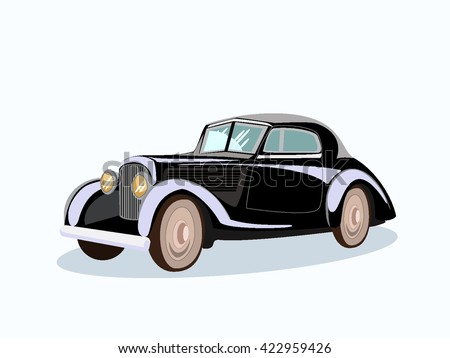 Vector illustration of retro, vintage, classic car.